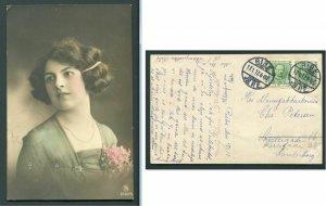 1912 Ribe, Denmark - Lovely Lady Postcard - Bold Cancels
