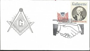 J) 1977 UNITED STATES, MASONIC GRAND LODGE SYMBOL, ANNUAL CELEBRATION OF THE FEA