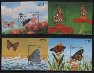 BHUTAN, 1240-1243, (4) SET, MNH, 1999, BUTTERFLIES, SOUVENIR SHEET