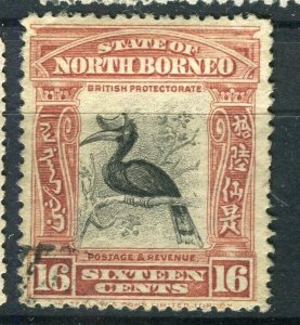 NORTH BORNEO; 1909 early pictorial issue fine used 16c. value
