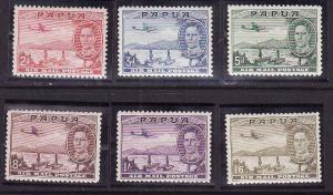 Papua-Sc#C10-15-unused hinged airmail set-KGVI-Planes-1939-41-
