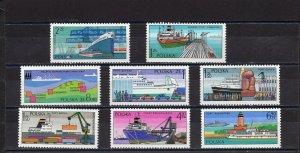 POLAND 1976  SHIPS SET OF 8 STAMPS MNH