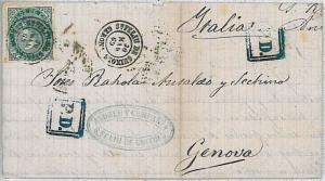 SPAIN España -  POSTAL HISTORY COVER sobre E. 100 - San Feliu de Guíxols  1869
