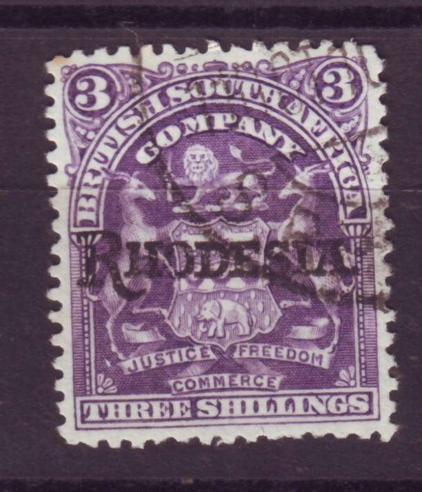 J17074 JLstamps 1909 rhodesia used #95 ovpt