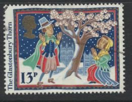 Great Britain SG 1342 -  Used with blue stars showing on reverse - Christmas