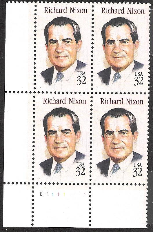US Plate Block, Cat # 2955, Nixon, MNH*