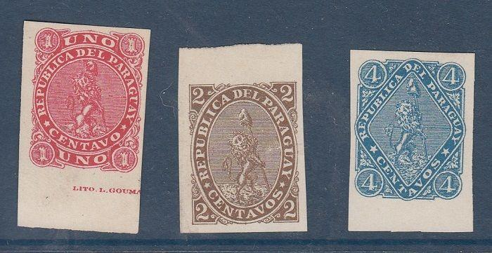 Paraguay Scott 14-16 Mint NH imperf (no gum)
