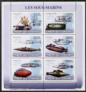 Comoro Islands MNH S/S Submarines 2009 6 Stamps
