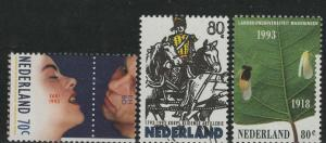 Netherlands Scott # 825 - 827, mint nh