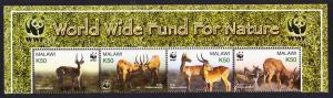 Malawi WWF Puku Top Strip of 4v with WWF Logo SG#1013-1016 MI#721-724 SC#714 a-d