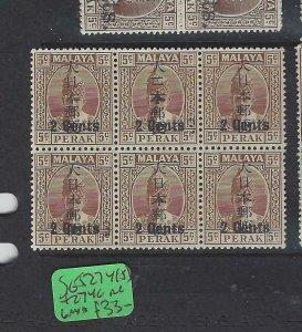 MALAYA JAPANESE OCC  PERAK (P2404B) KANJI 2C/5C  SG J274+274C SIDE CHOP BL 6 MNH