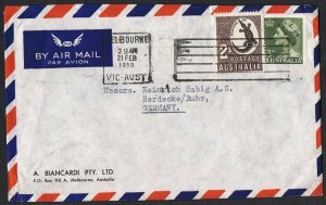 1956 no wmk 2/- crocodile + QEII 3d on 1959 airmail cover to Germany TS1070