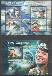 UG049 2012 UGANDA YURI GAGARIN 50TH ANNIVERSARY MAN IN SPACE #2844-7+BL384 MNH
