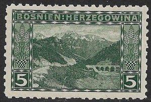 BOSNIA AND HERZEGOVINA 1906 5h PRENJ RIVER P.9 1/4 Sc 33a MNH