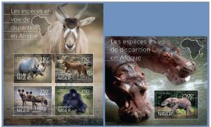 NIGER 2014 2 SHEETS nig14516ab WILDLIFE AFRICA ELEPHANTS