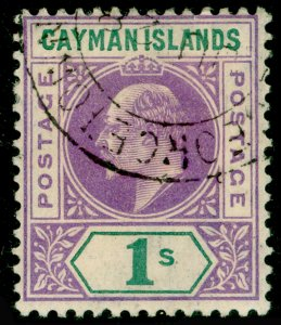 CAYMAN ISLANDS SG15, 1s violet & green, FINE USED. Cat £90.