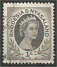 RHODESIA AND NYASALAND, 1956, used 1sh, Elizabeth II Scott 149