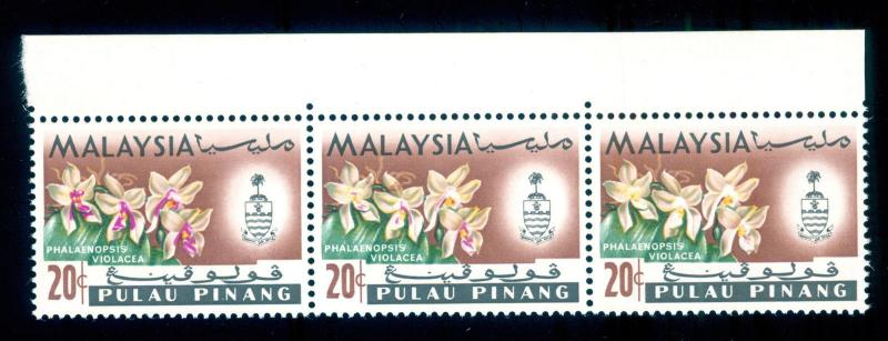 MOMEN: PENANG SG#72a,72VAR,72 1965 ORCHIDS MINT OG NH PURPLE OMITTED TRANSITION