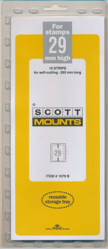 Prinz Scott Stamp Mount 29/265 mm BLACK (Pack of 10) (29mm 29x265) STRIP  NEW!