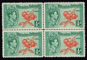 UK Stamp Pitcairn Islands 1940 King George VI  MNH/OG BLK OF 4