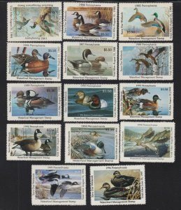 US PA1-PA14 Pennsylvania State Duck Stamp Mint NH SCV $123