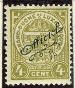 LUXEMBOURG; 1908 early Duke William OFFICIAL Optd issue Mint hinged 4c.
