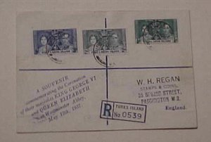 TURKS & CAICOS KING GEORGE VI CORONATION 1937 MAY 12 REGISTERED  FDC