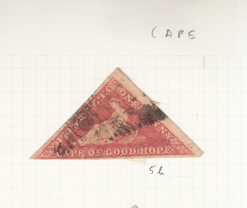 CAPE OF GOOD HOPE TRIANGLE 1855 1D RED SG5B USED small tear