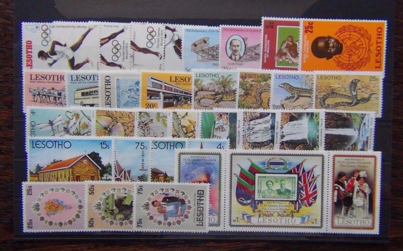 Lesotho 1972 1981 sets Olympics Reptiles Insects Waterfalls Queen Mother MNH
