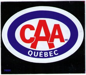 CAA QUEBEC CAR WINDOW LABEL 3¾ x 2½,CINDERELLA