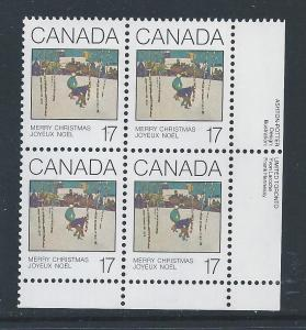 Canada #871 LR PL BL Christmas 1980 - Cards 17¢ MNH9