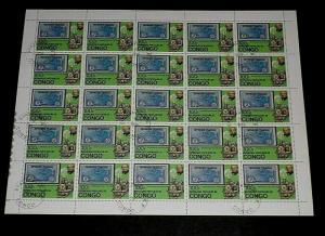 1979, CONGO, #671, SIR ROWLAND HILL, TRAINS, 100f, SHEET/ 25, CTO, NICE LQQK