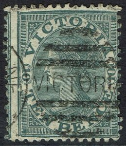 VICTORIA 1863 QV LAUREATE 10D GREY USED