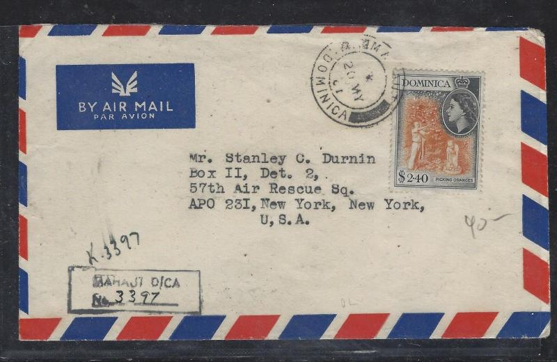 DOMINICA (PP2107B)   QEII $2.40 1967 REG FROM MAHAUT TO USA