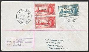 SOLOMON IS 1947 Registered cover HONIARA to USA........................17984