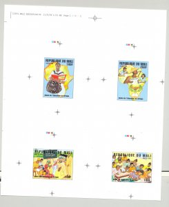 Mali #836-839 Education Maps 4v Imperf Proofs on Collective Sheet