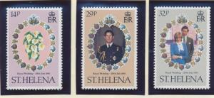 St. Helena Stamp Set Scott #353-5, Mint Very Lightly Hinged, Royal Wedding - ...