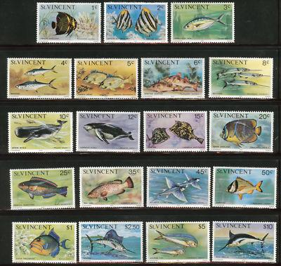 St Vincent Scott 407-425 MNH** Fish set notices some ligh...
