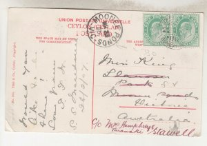 INDIA, 1908 Ceylon ppc.,1/2a. (2), BOMBAY-ADEN SEA POST OFFICE to Moonee Ponds