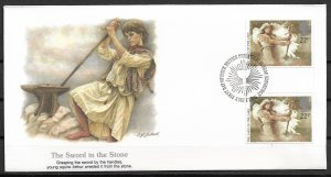 1985 Great Britain 1116 The Sword and the Stone gutter pair FDC