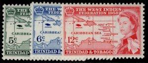 TRINIDAD & TOBAGO QEII SG281-283, complete set, M MINT.