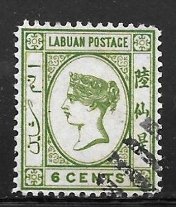 Labuan 34: 6c Queen Victoria, used, F-VF