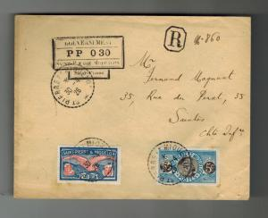 1926 St Pierre Miquelon cover to Saintes France registered