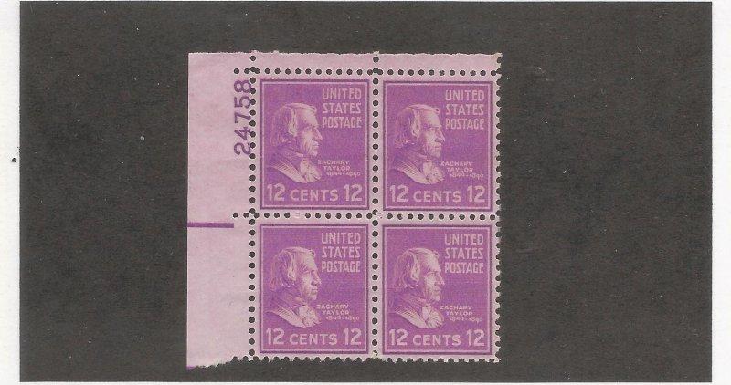 US SCOTT# 817 PLATE BLOCK OF 4, MNH, OG