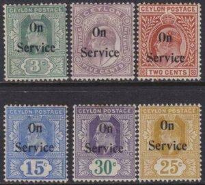 Ceylon 1903 SC O19-O24 MLH Set