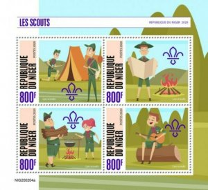 Niger - 2020 Boy Scouts - 4 Stamp Sheet - NIG200204a