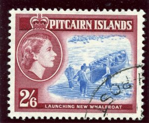 Pitcairn Islands 1959 QEII 2s 6d blue & deep lake very fine used. SG 28a.