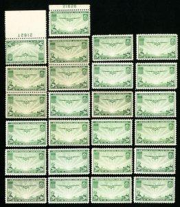 US Stamps # C21 F-VF Lot of 25 OG NH Scott Value $275.00