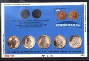 BOLIVIA 1993,COINS GERMANY,STAMP ON STAMP, S/SHEET Mi BL 204,MNH