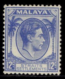 MALAYSIA - Straits Settlements GVI SG285, 12c ultramarine, M MINT. Cat £16.